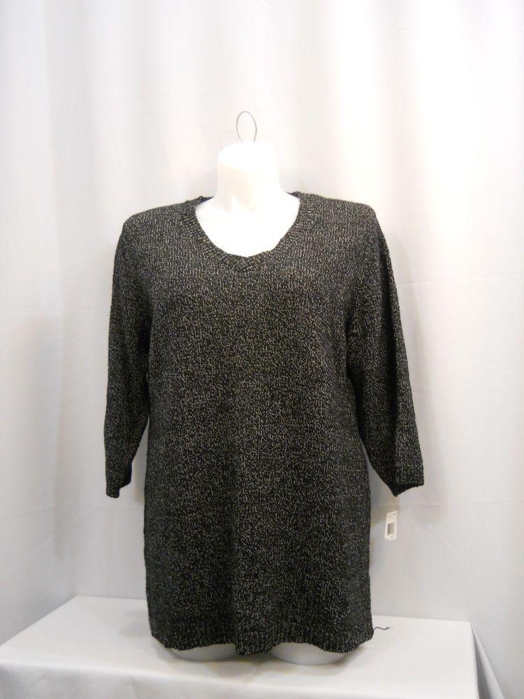 Karen Scott White/Black 3/4 Sleeves V-Neck Sweater Plus Size 1X #KarenScott #VNeck