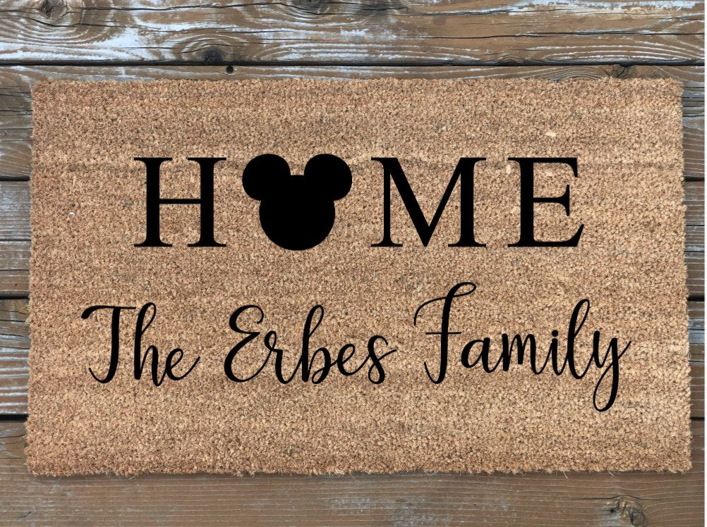Custom Personalized Family Name Disney Door Mat Custom Welcome Mat Personalized Door Mat Outdoor Decor Disney Custom Doormat Personalized Door Mats Diy Gifts For Him Couple Gifts