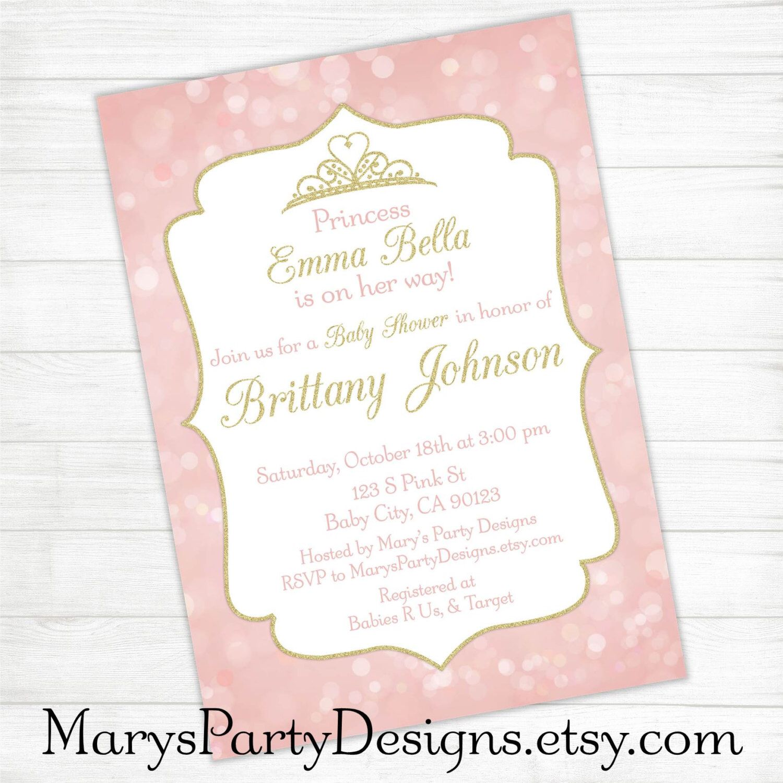 Princess Baby Shower Invitation Package - Gold Blush Pink Royal ...