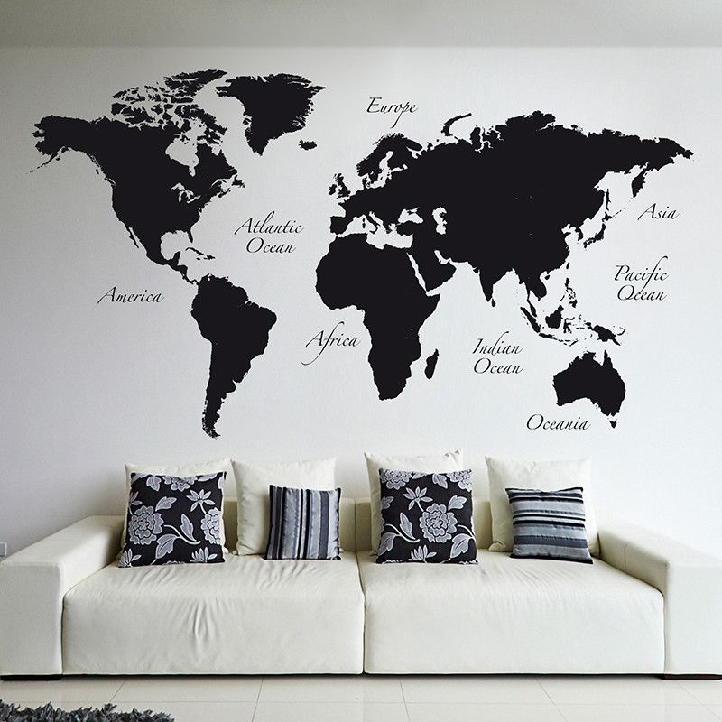 World map wall decal gumiabroncs Image collections