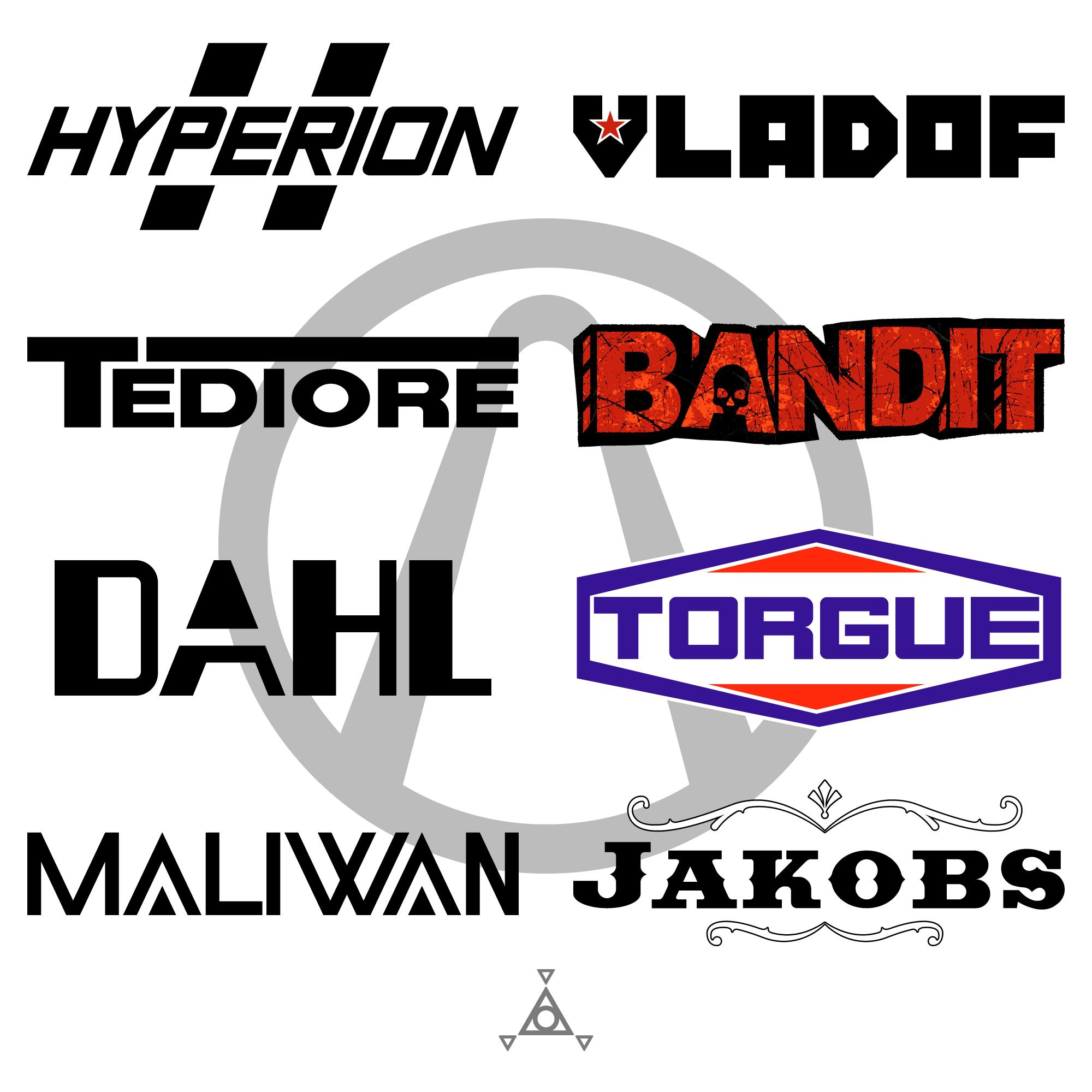 Bl2 Weapon Manufacturer Logos Vector Template By Colefrehlen Vector Logo Pop Culture References Borderlands Art