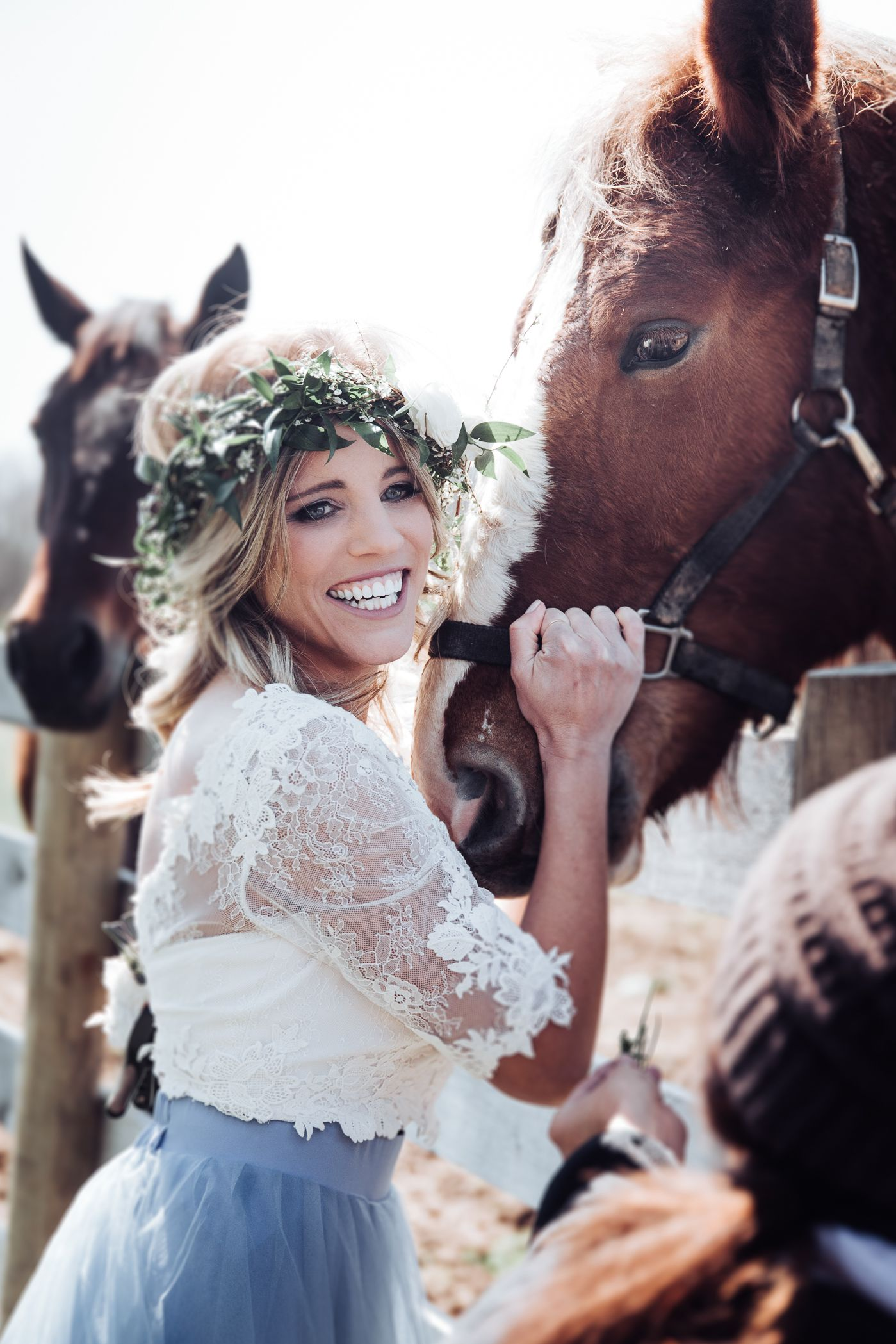 Dusty blue styled wedding bride photos by we choose the moon