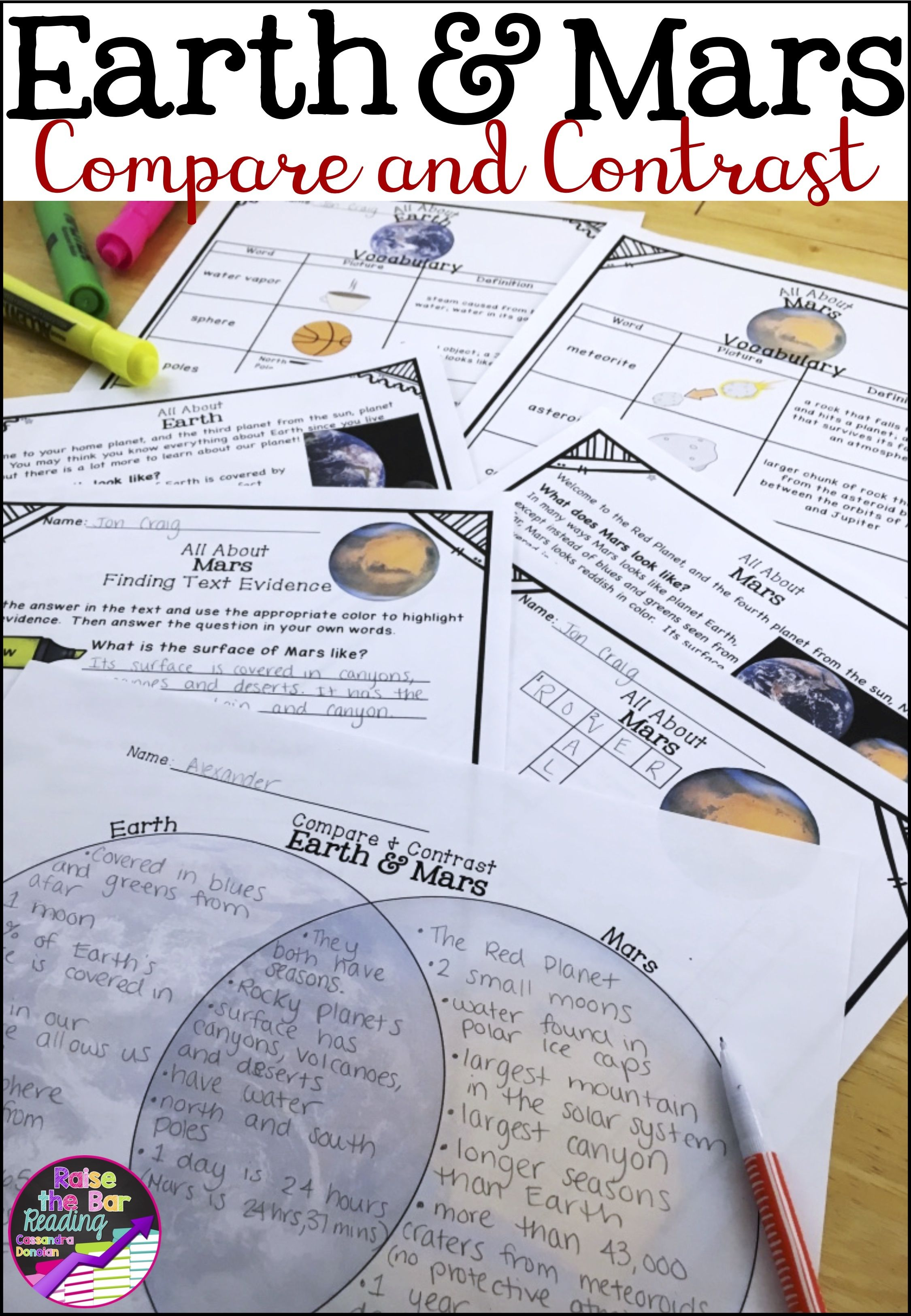 Solar System Reading Passages Earth Amp Mars Compare