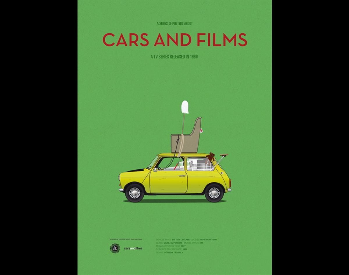 1977 British Leyland Mini 1000 Mr Bean Photos Colorful Poster Series Celebrates The Top Movie Cars Cars Movie Poster Series Leyland