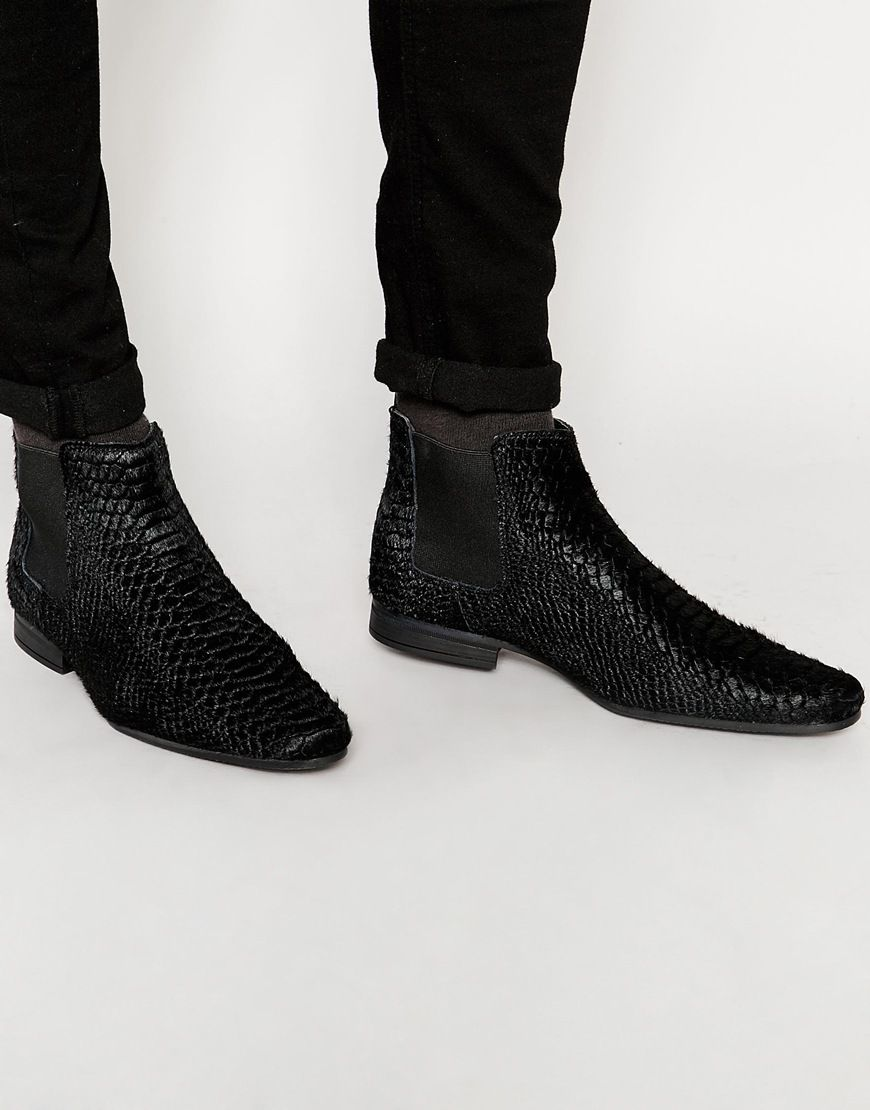 Buy Men Shoes / Asos Chelsea Boots In Black Snake Textured Leather