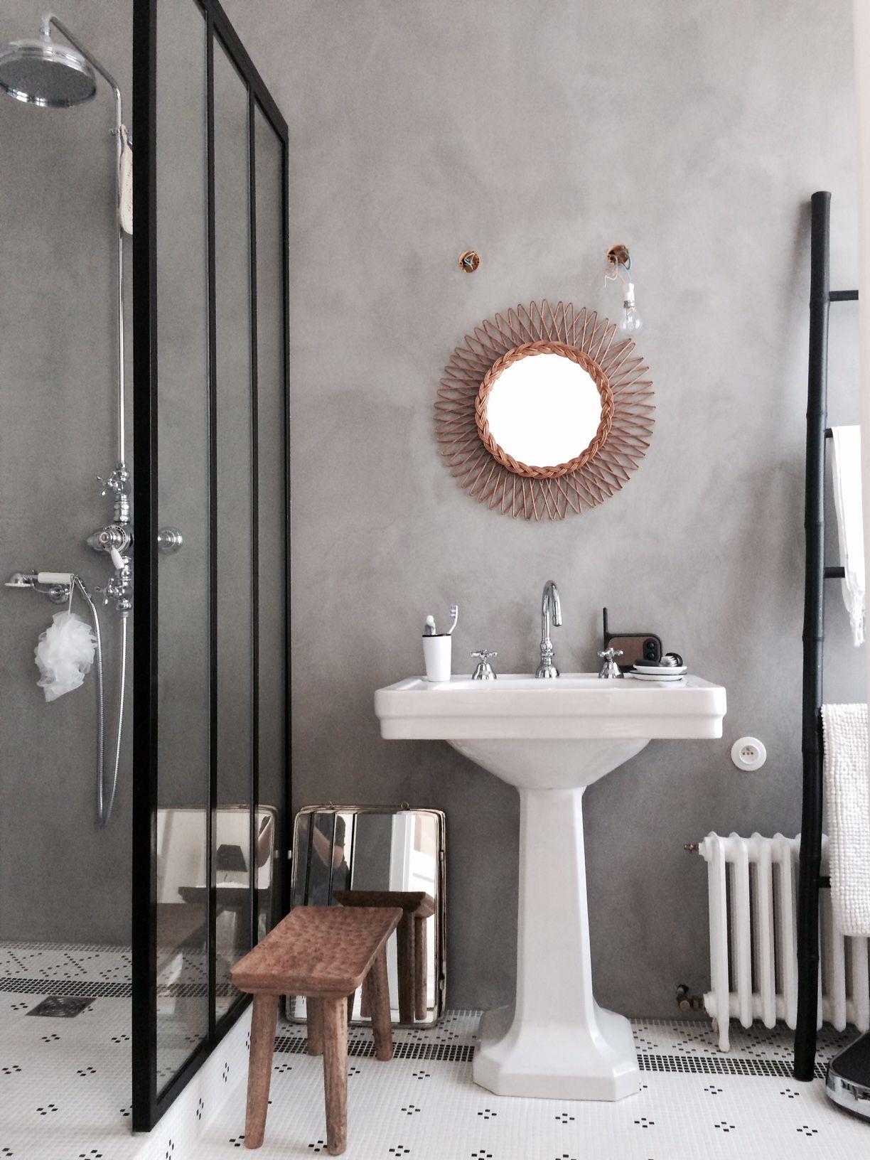 Inspiration visite priv e chez christine b t h e bathroom eclectic bathroom et bathroom - Salle de bain industrielle ...