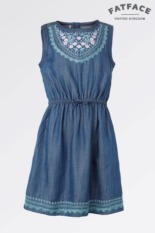 6009fb74e6 Fat Face Denim Embroidered Dress