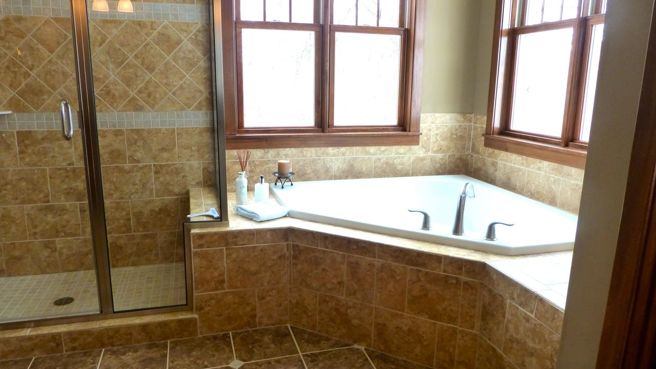 Large 8 bathroom with corner tub and shower on preparing for Bathroom jacuzzi ideas