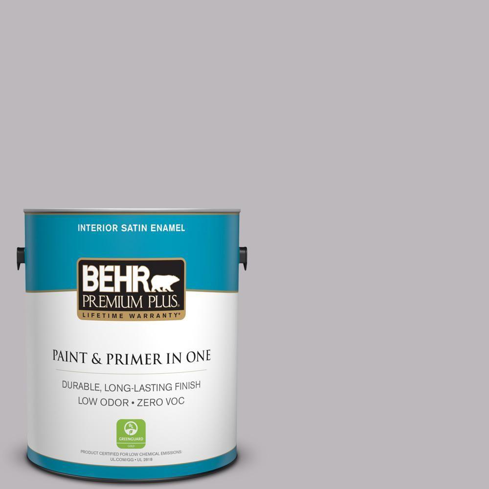 BEHR Premium Plus 1 gal. #PPU16-10 French Lilac Zero VOC Satin Enamel Interior Paint