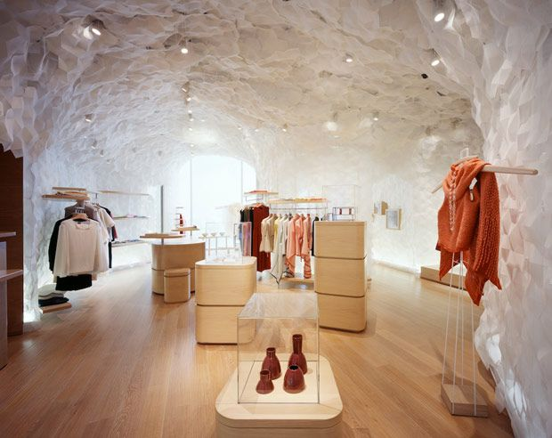 Hi-fashion boutique Shang Xia's Shanghai location - love the white textured cave-like walls.