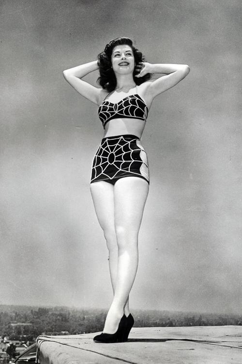 retrogirly pat alphin actress patricia alphin in spiderweb swimwear 1947 - Halloween Swimsuit