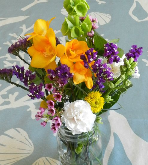 Whole Foods Wedding Bouquet: Spring Flowers In Mason Jar