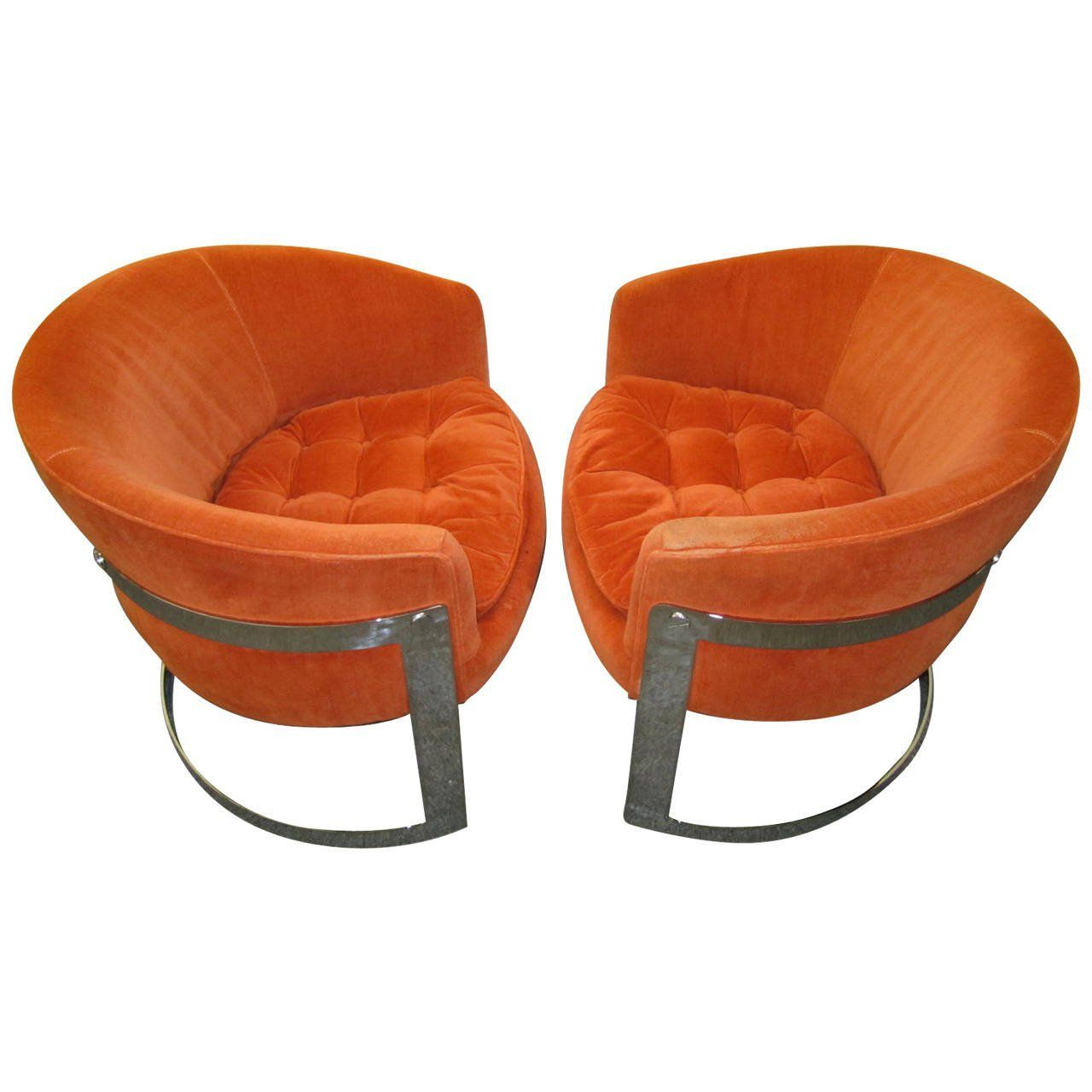Mid Century Modern Butterfly Chairs With Backs | ... Of Milo Baughman  Barrel Back
