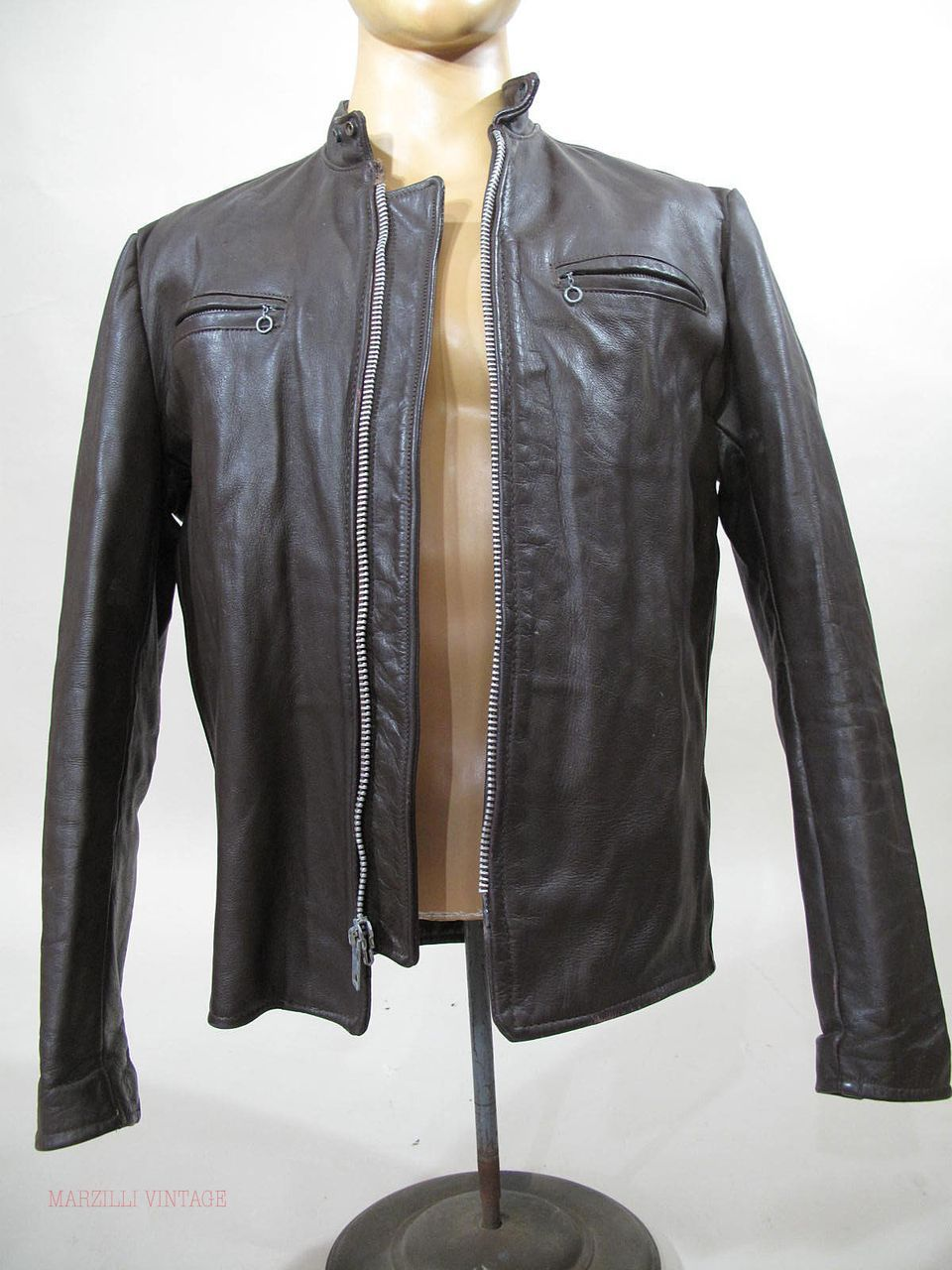 1950's Excelled Leather Cafe' Racer Jacket With Harley Davidson Patch