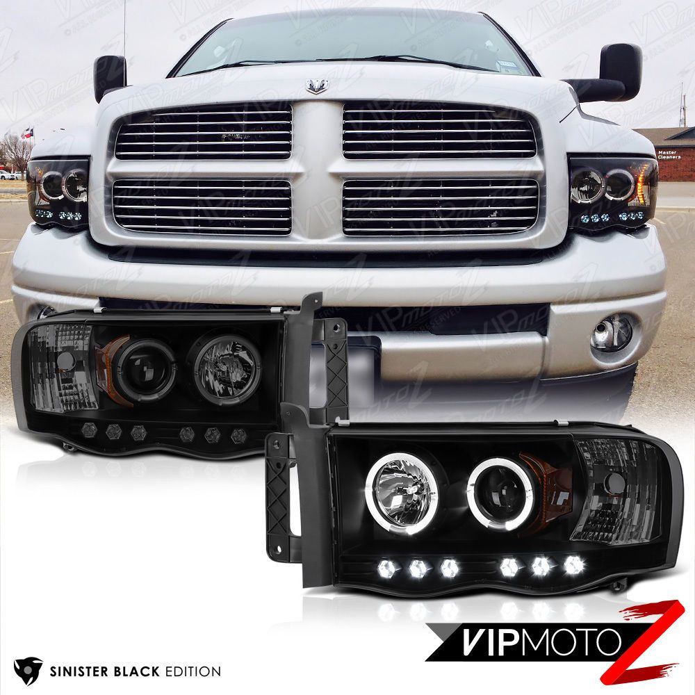 Sinister Black 2002 2005 Dodge Ram 1500 Halo Led Head Lights 03 05 Silver Hemi Negro Faros 2500