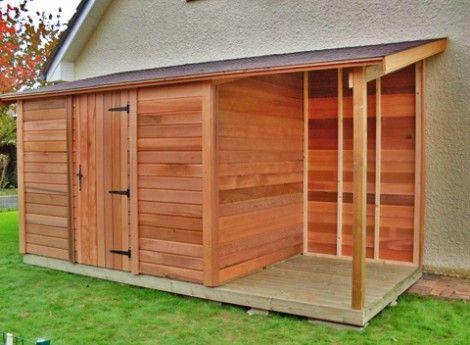 Abri de jardin en bois CASTEL 200Mx300M + bûcher - Cerisier - abris de jardin adossable