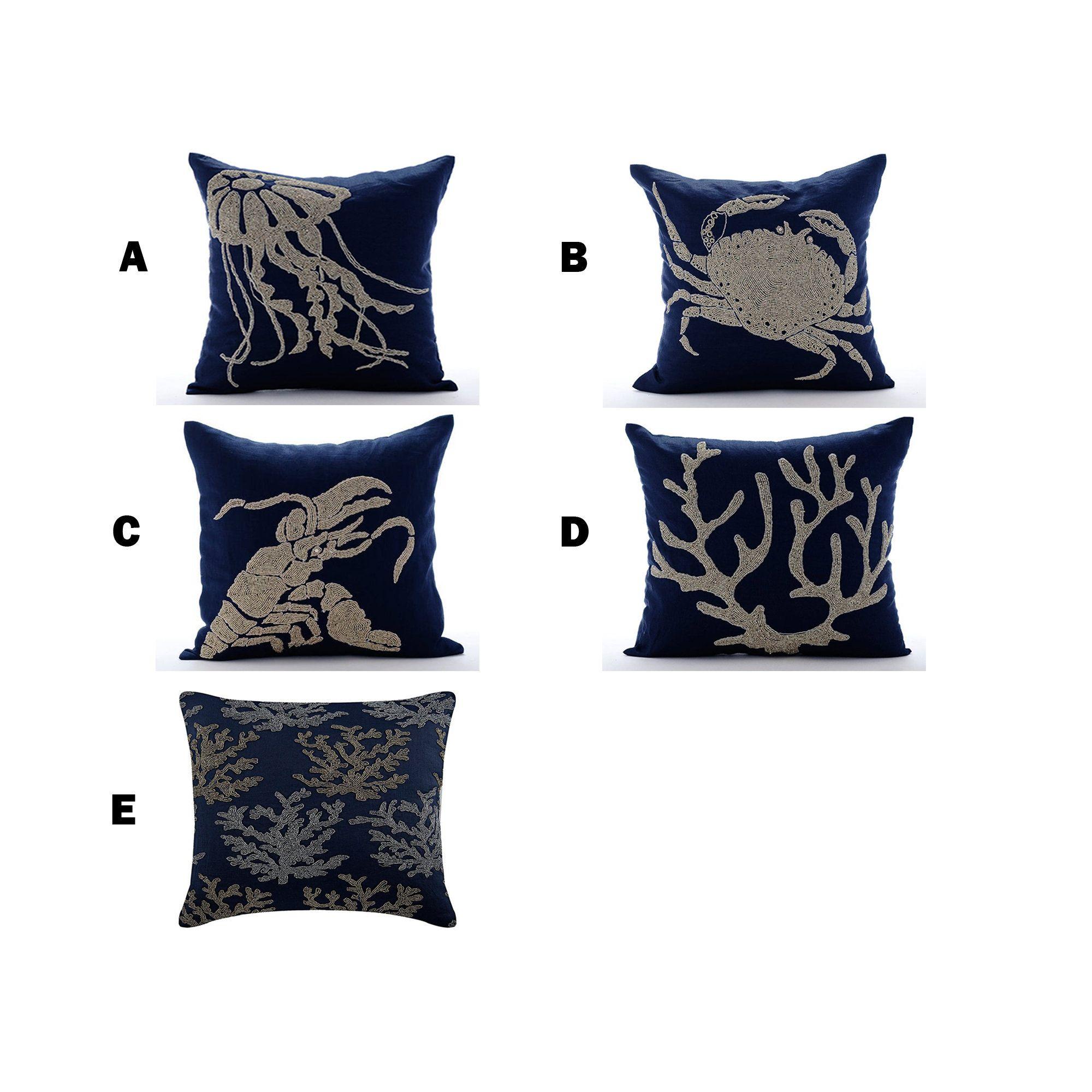 Decorative Throw Pillow Cover Navy Blue Cotton Linen Pillow Etsy In 2020 Throw Pillow Cover Navy Decorative Throw Pillow Covers Navy Blue Throw Pillows