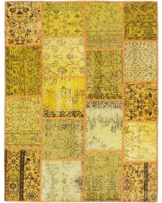 Ecarpetgallery Color Transition Patch Yellow Wool Rug (5' x 6'5) (Yellow Gold, Light Yellow Rug (5' x 6')), Black (Cotton, Abstract) from Overstock   BHG.com Shop