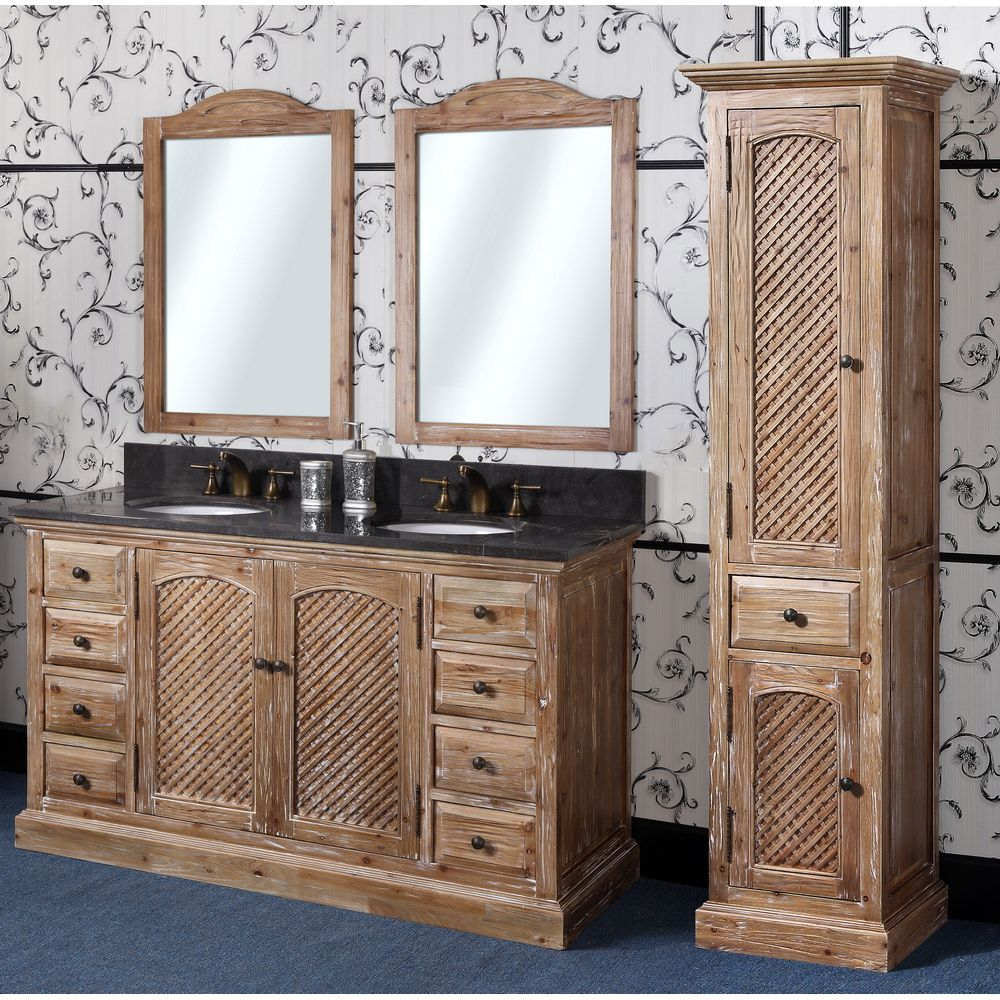 Abel 60 Inch Rustic Double Sink Bathroom Vanity Natural Oak Finish, Solid  Wood Construction,