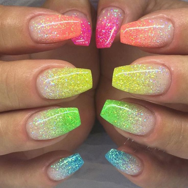Neon rainbow nails | nails | Pinterest | Neon, Glow nails and Nail ...