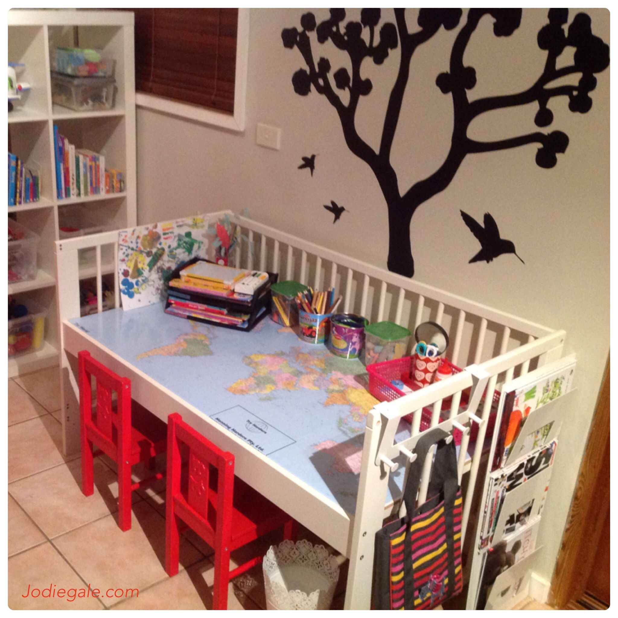 I Upcycled The Kidsu0027 Old Cot Into A Desk Using IKEA Cot And Other Items