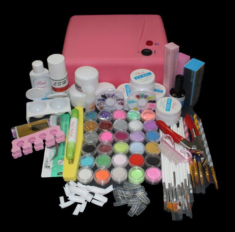 Btt 116 Free Shipping Pro 36w Uv Dryer Acrylic Nail Art Set