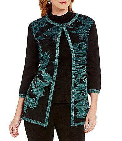 Ming Wang 34 Sleeve Jeweled Neck Floral Jacket #Dillards