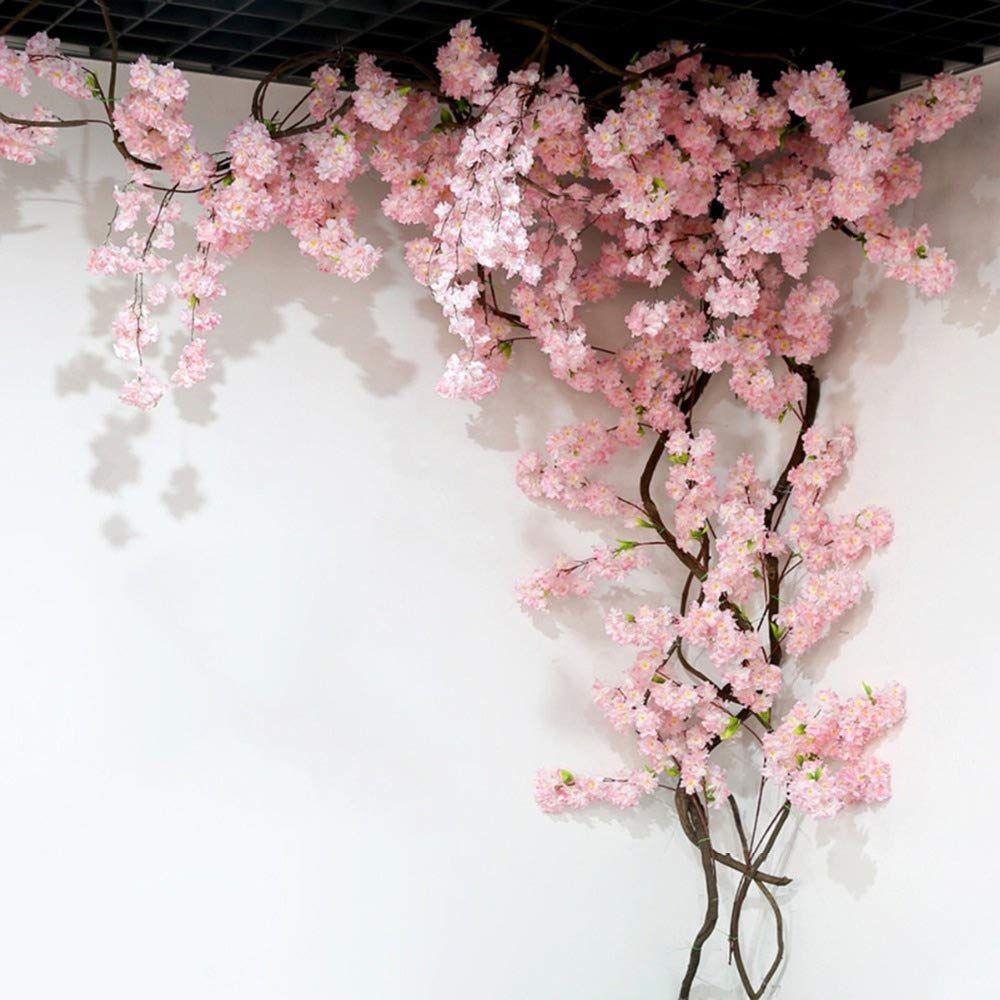 Homcomodar 2 Pack Artificial Silk Cherry Blossom Hanging Vine Garland For Wedding Home Garden Party Blossom Tree Wedding Flower Wall Decor Cherry Blossom Tree