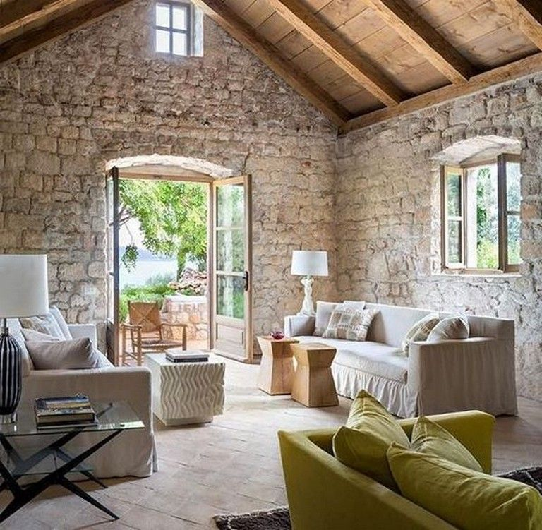 40 Rustic Living Room Ideas To Fashion Your Revamp Around: 15 Cool Stone Wall Interior Designs #interiordesign