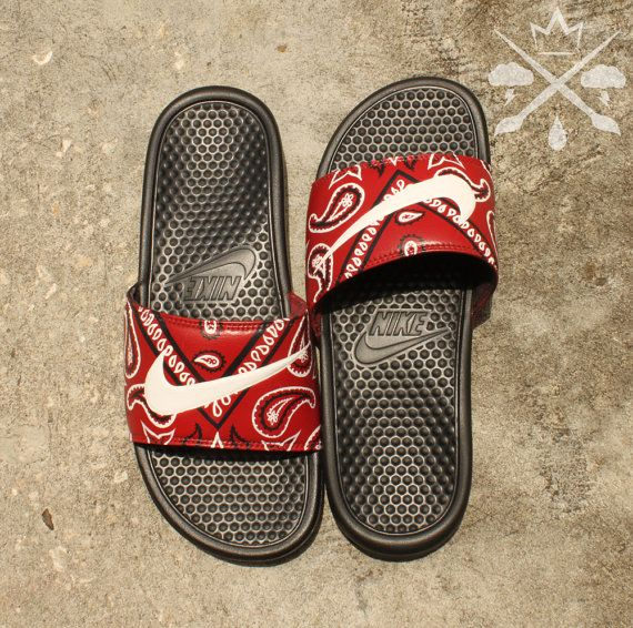 Nike Custom Red Bandana Benassi Swoosh Slide by DrippedCustomz