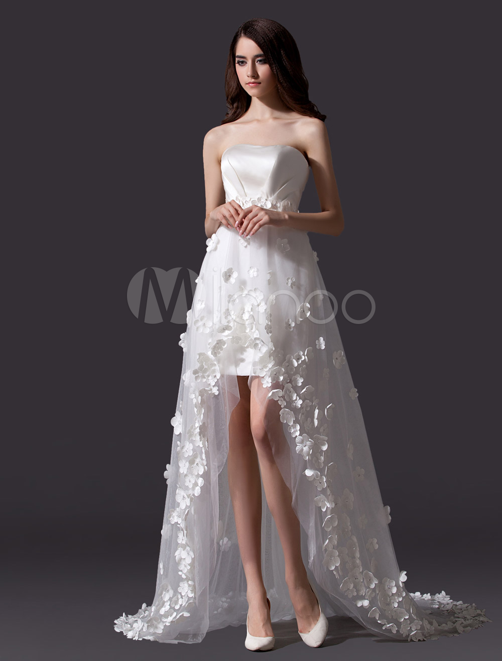 Ivory strapless aline flowers applique high low wedding dress