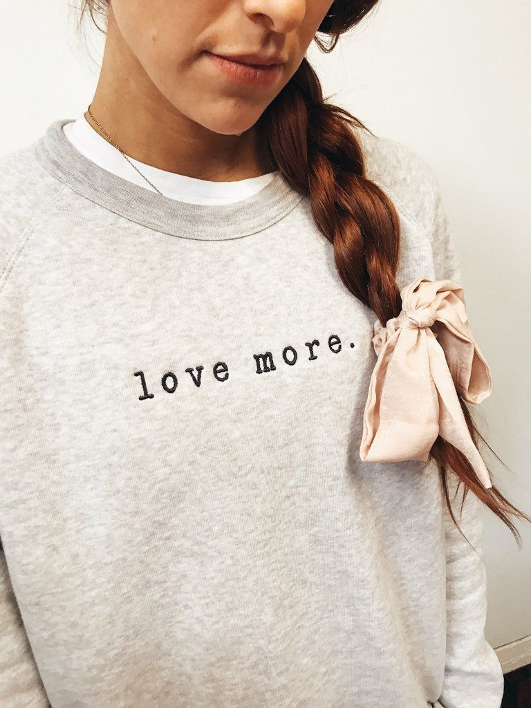Love More Embroidered Sweatshirt Light Grey Always More Crewneck Sweatshirt Women Embroidered Sweatshirts Sweatshirts [ 1024 x 768 Pixel ]