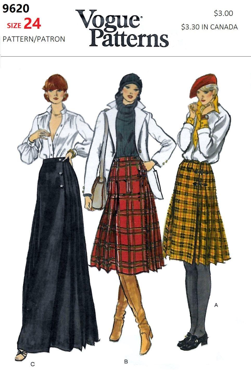 Vogue 9620 70s Front Wraped Scottish Kilt Skirt Sewing Pattern Waist ...