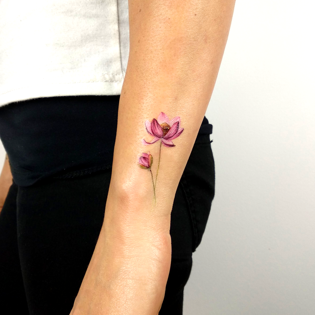 Lotus Flower Temporary Tattoo By Lena Fedchenko (Set of 3