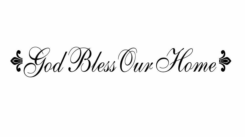 God Bless Our Home Vinyl Wall Decal Christian Wall Quote Religious Saying for Living Room or Family Room 5H x 36W FS0182. $30.00, via Etsy.