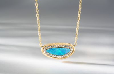 18K yellow gold, Australian Boulder opal and tanzanite necklace by Pamela Froman #igorman #pamelafroman