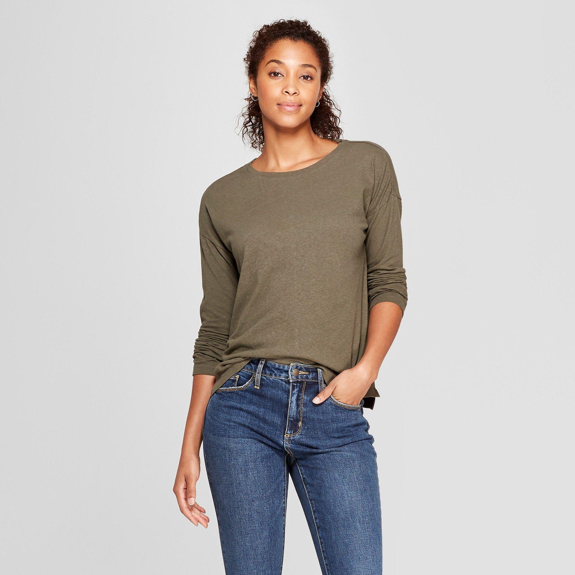 6b652b8c32 Women s Drop Shoulder Long Sleeve T-Shirt - Universal Thread Olive (Green)  Xxl