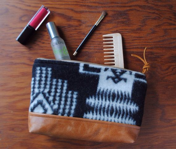 medium wool and leather zippered pouch by nanmadeobjects on Etsy, $42.00