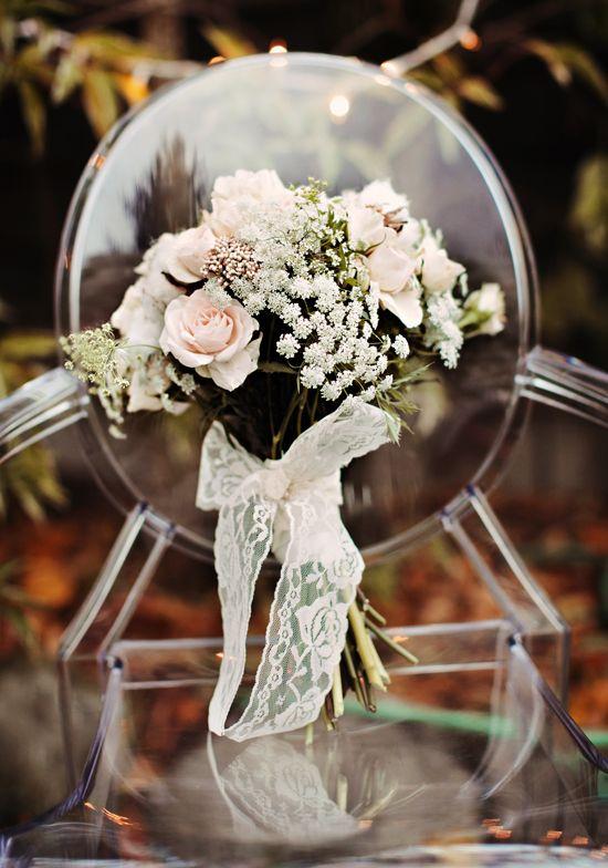 lace wrapped wedding bouquet 275x392 Inspiration: Lace Wedding Details