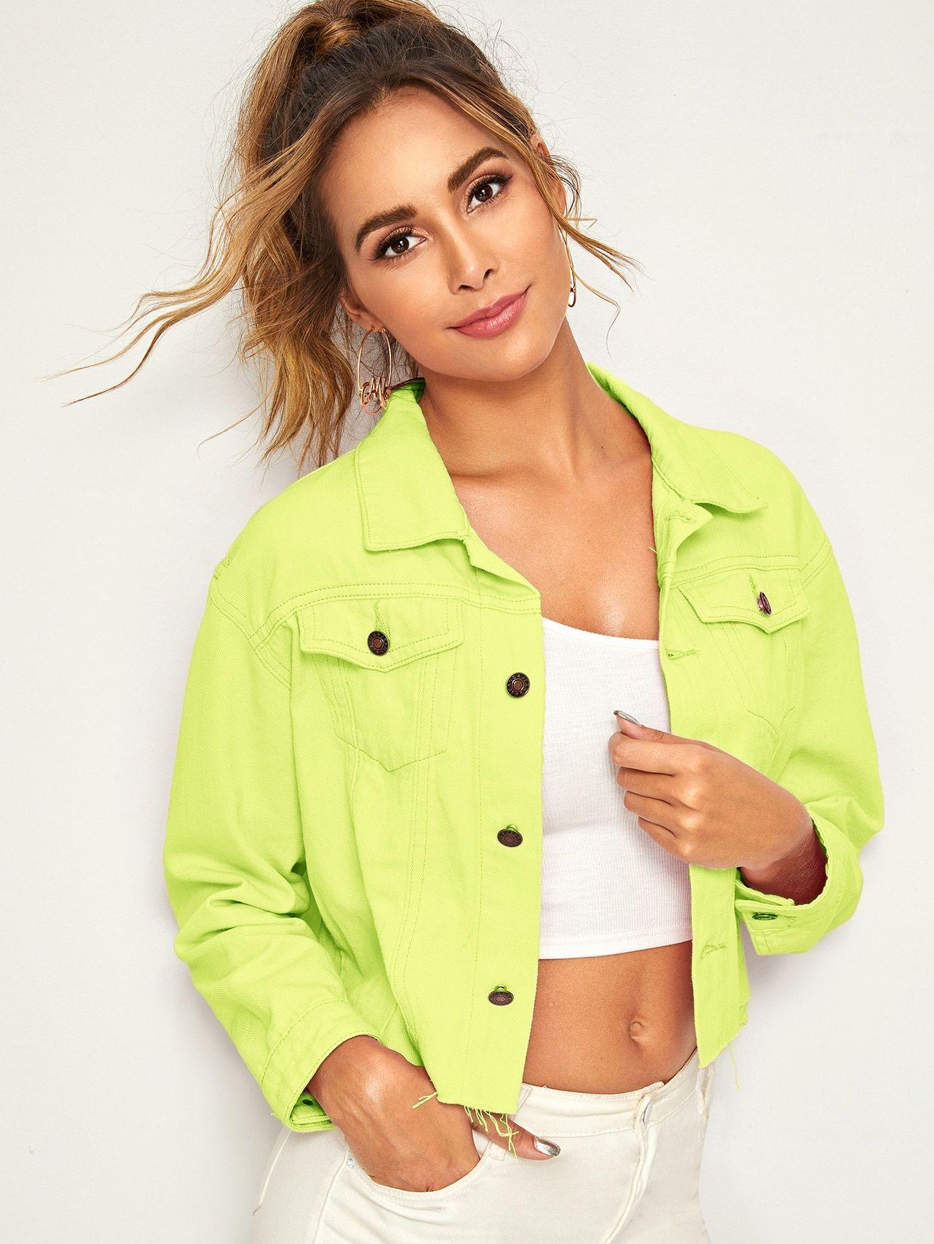 Ad Neon Green Raw Hem Crop Denim Jacket Tags Casual Green Bright Plain Collar Crop Other Raw Hem Lon Cropped Denim Denim Jacket Cropped Denim Jacket [ 1785 x 1340 Pixel ]