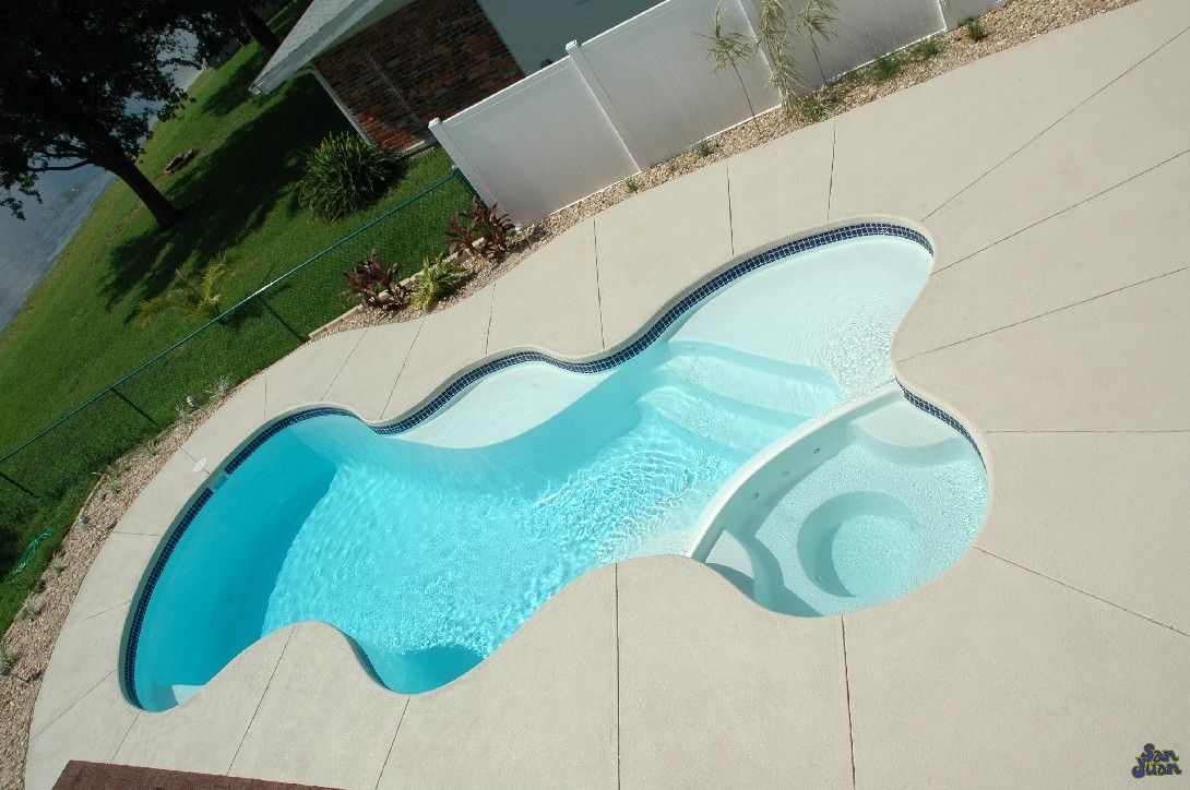 Stained Concrete Around White Fiberglass Pool Areas Could I Just