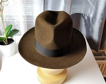 acbc9378360330 INDIANA JONES FEDORA | Made to measure | Custom Leather Sweatband | Rabbit  and Hare mix fur felt fedora | Indiana Jones prop | Customizeable
