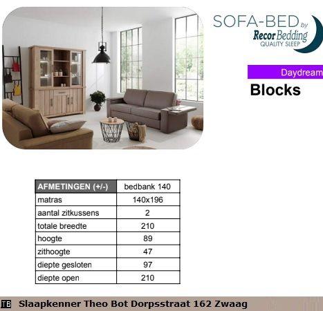 Slaapbank 140 Cm Breed.Slaapbank Blocks 140 Cm Breed X 200 Cm Lang Sofabed Slaapbank