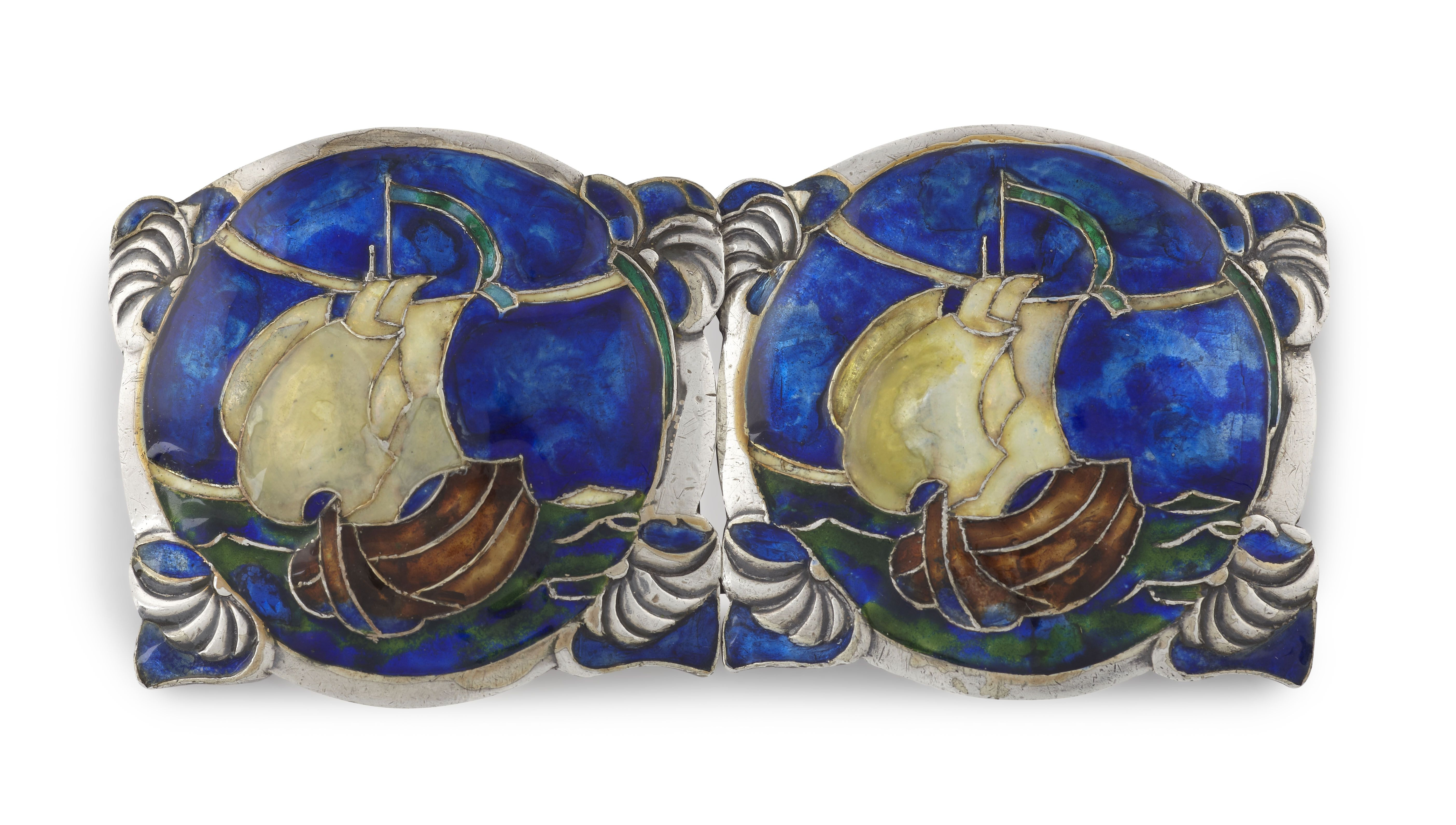 Lot 111  JESSIE MARION KING (1875-1949) FOR LIBERTY & CO., LONDON SILVER, ENAMEL AND MOTHER OF PEARL BUCKLE, DATED 1910 9.5cm across  Estimate: £1000  - 1500