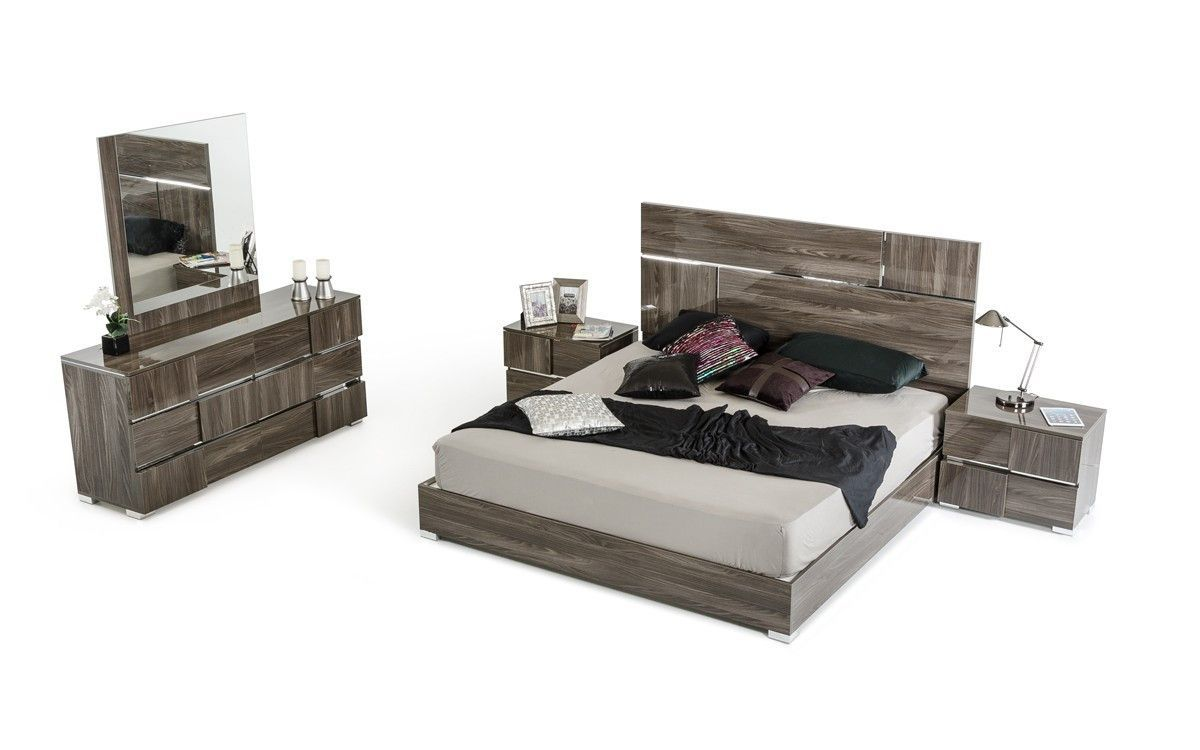 Vig furniture modrest picasso italian modern grey lacquer bedroom
