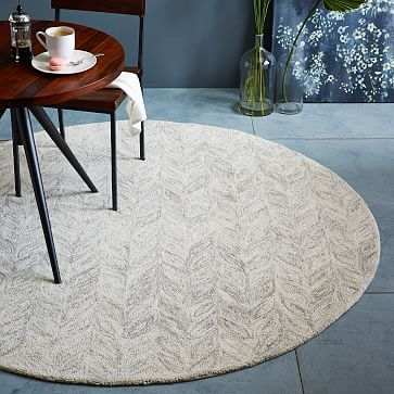 Hand Tufted By Artisans In India Our Vines Wool Rug Features Space Dyed Yarns That Are Looped For Subtle Round Rug Living Room Round Area Rugs Round Carpets