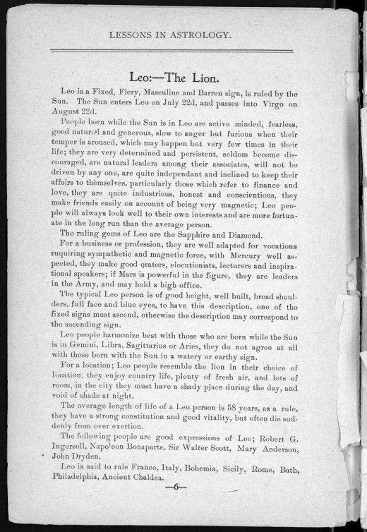 Leo - The Lion Astrology \/ Zodiac The Original Manuscript - live careers