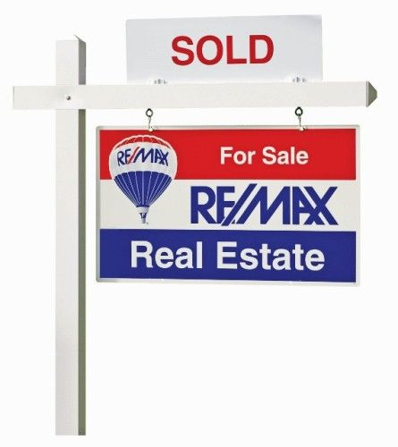 For Sale Sold Sign: Sold REMAX REALTOR Sign With Logo.