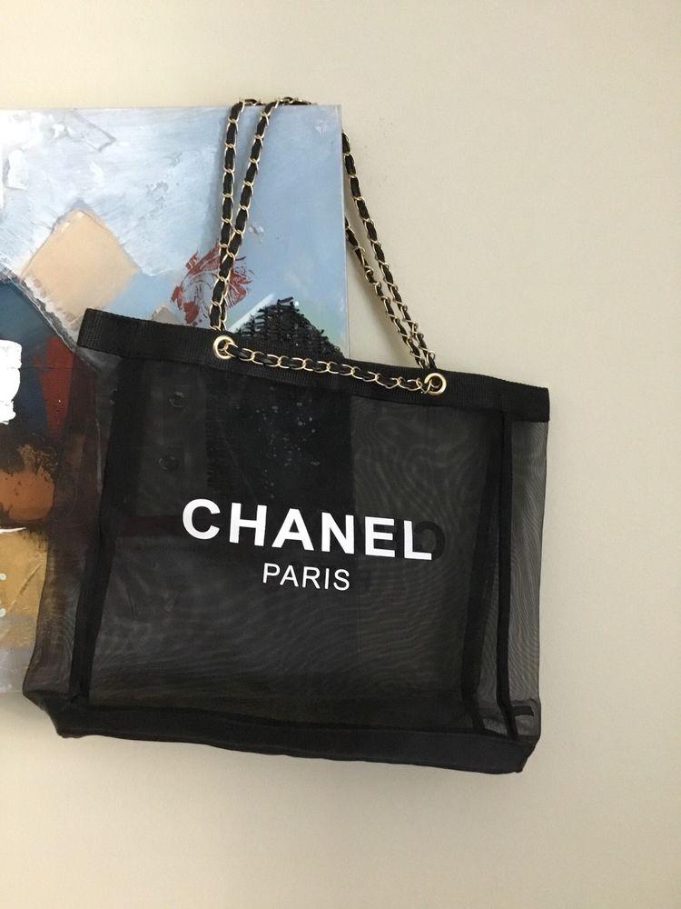 225c2404383872 New Mesh Shopping Beach Tote bag Gold Chain CC VIP Gift #Unbranded ...