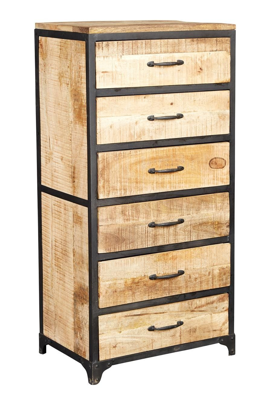 Cosmo Urban Industrial Wood Metal 6 Drawer Tall Chest Of Drawers